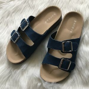 NEW IN BOX 'BAMBOO' Denim Slip On Sandals